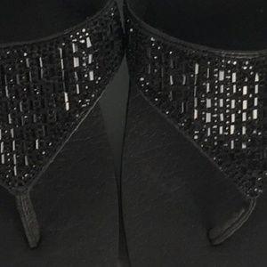 Skechers Shoes - SALE🌴SKECHERS BLACK RHINESTONE FLIP FLOPS